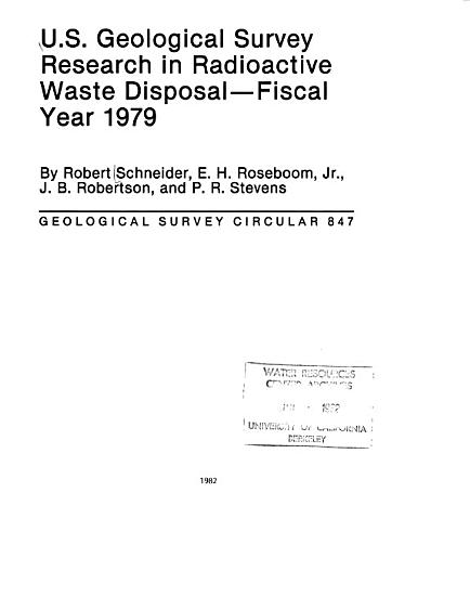 U S  Geological Survey Research in Radioactive Waste Disposal PDF