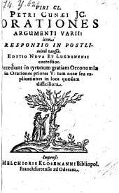 Orationes argumenti varii item responsio in postliminii causa. Ed. nova et Lugdunensi correctior (etc.)