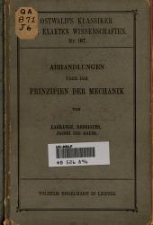 Abhandlungen über die Prinzipien der Mechanik von Lagrange, Rodrigues, Jacobi und Gauss