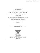 The Poems of Thomas Carew