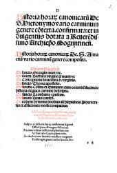 Historia horar[um] canonicaru[m] De S. Hieronymo vario carminum genere co[n]texta: Historia horar[um] canonicar[um] De S. Anna etia[m] vario carminu[m] genere composita