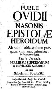 Publii Ovidii Nasonis Epistolae heroidum
