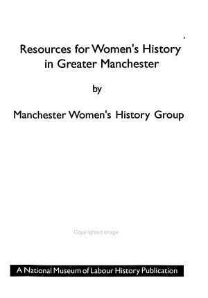 Resources for Women s History in Greater Manchester PDF