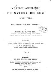 M. Tullii Ciceronis De Natura Deorum Libri Tres: With Introduction and Commentary, Volume 1