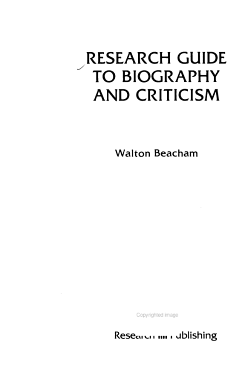 Research Guide to Biography and Criticism PDF