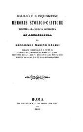 Galileo e l'Inquisizione, memorie storico-critiche dirette alla Romana Accademia di Archeologia