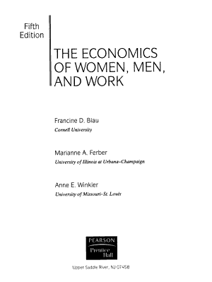 The Economics of Women  Men  and Work PDF