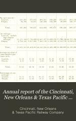 Annual Report of the Cincinnati, New Orleans & Texas Pacific R'y Co. and Statement of Accounts