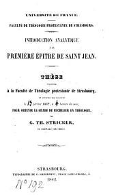 Introduction analytique à la première épître de Jean