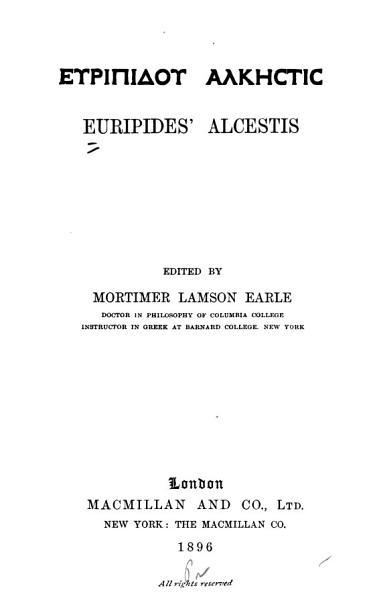 Download Euripides  Alcestis Book