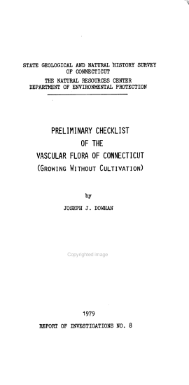 Preliminary Checklist of the Vascular Flora of Connecticut  growing Without Cultivation  PDF
