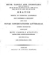 Oratio habita in panegyri academica die 3 Sept. 1831 quo die novae concertationes litterariae civibus propositae simulque Divi Caroli Avgvsti