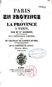 Paris en province et la province à Paris