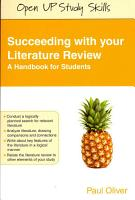Succeeding With Your Literature Review  A Handbook For Students PDF