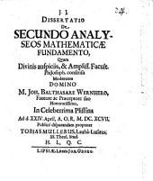 Diss. de secundo analyseos mathematicae fundamento