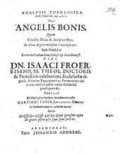 Analysis theologica dicti Matthaei cap. 4. v. 11., de angelis bonis