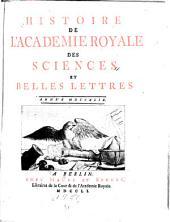 Histoire de l'Académie royale des sciences et des belles lettres de Berlin: avec les mémoires pour la même année, tirez des registres de cette Académie, Volume7