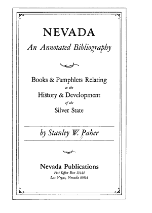 Nevada, an Annotated Bibliography