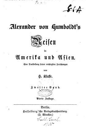 Alexander von Humboldt s Reisen in Amerika und Asien PDF