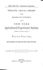 Annual Report of the Board of Control of the New York Agricultural Experiment Station