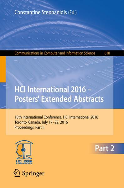 HCI International 2016     Posters  Extended Abstracts