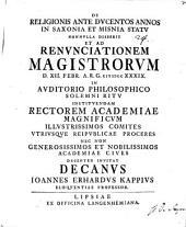 De religionis ante ducentos annos in Saxonia et Misnia statu