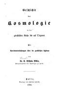 Geschichte der Kosmologie in der griechischen Kirche bis auf Origines PDF