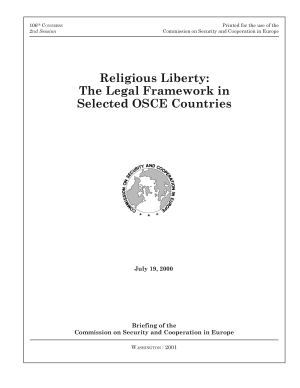 Religious Liberty  The Legal Framework in Selected OSCE Countries  Briefing of the Commission on Security and Cooperation in Europe PDF
