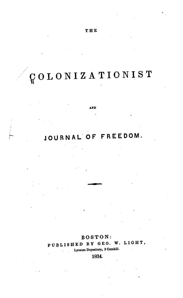 The Colonizationist and Journal of Freedom. Apr. 1833-Apr. 1834