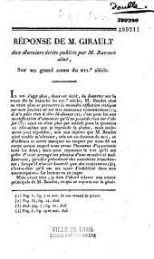 Réponse de M. Girault aux derniers écrits publiés par M. Baudot aîné, sur un grand sceau du XVIe siècle