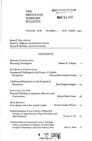 The Princeton Seminary Bulletin PDF