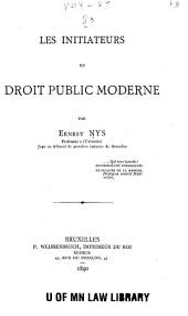 Les initiateurs du droit public moderne