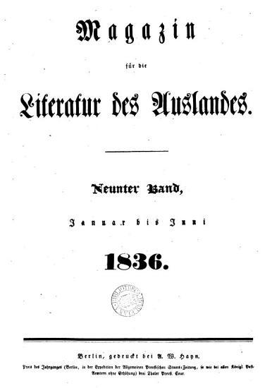 Magazin f  r die Literatur des Auslandes  ed  by J  Lehmann   PDF