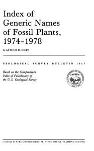 Index of Generic Names of Fossil Plants  1974 1978