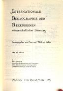Internationale Bibliographie der Rezensionen wissenschaftlicher Literatur PDF