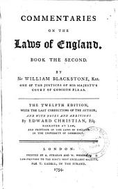 Commentaries on the Laws of England, in Four Books. By William Blackstone, ...: 2