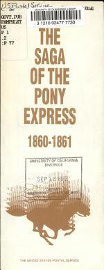The Saga of the Pony Express, 1860-1861