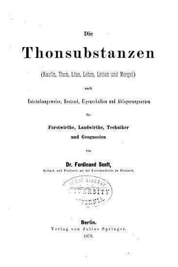 Die Thonsubstanzen  Kaolin  Thon  L  ss  Lehm  Letten und Mergel  PDF