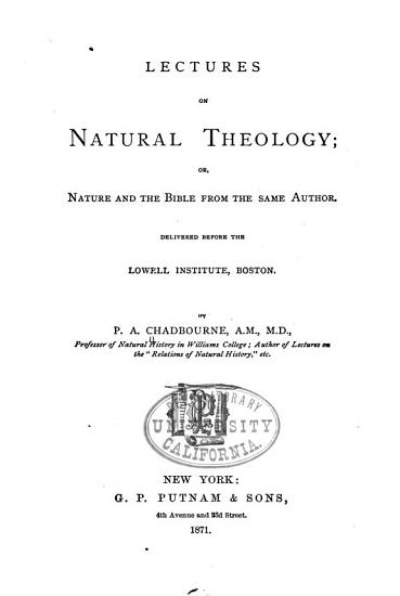 Lectures on Natural Theology PDF