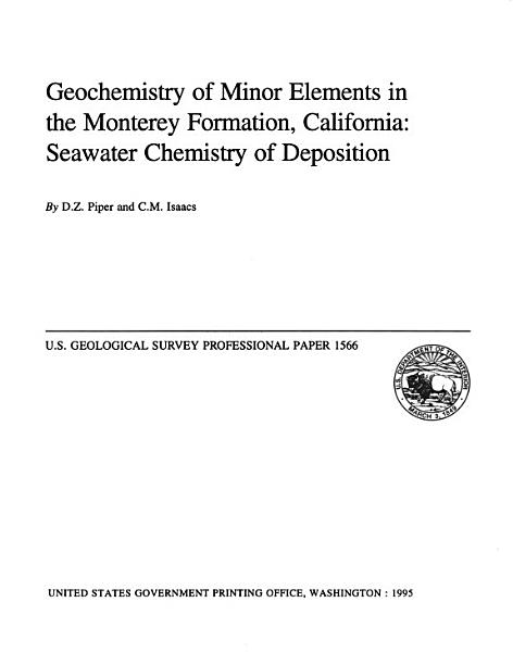 Geochemistry of Minor Elements in the Monterey Formation  California PDF