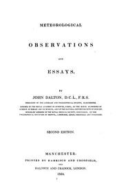 Meteorological Observations and Essays. 2. Ed