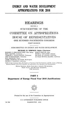Energy and Water Development Appropriations for 2016 PDF
