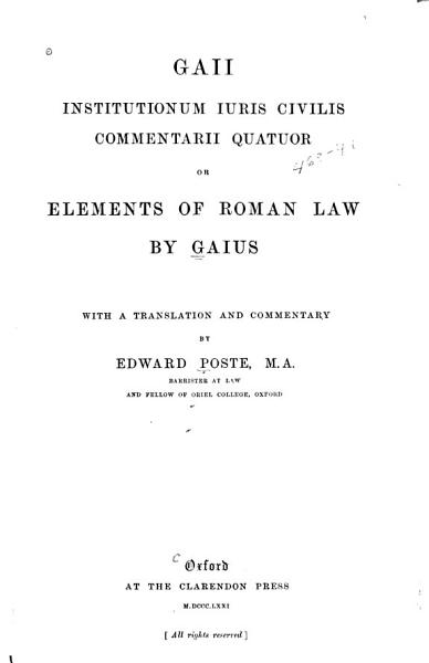 Download Elements of Roman Law Book