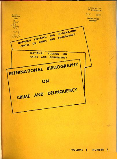 International Bibliography on Crime and Delinquency PDF