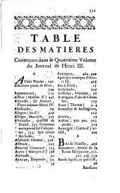 Journal de Henri III. roy de France [...] ou Memoires pour servir a l'histoire de France: Volume4