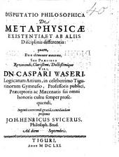 De Metaphysicae Existentia, Et Ab Aliis Disciplinis Differentia
