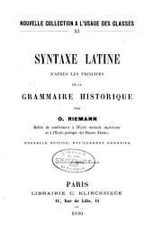 Syntaxe latine d'après les principes de la grammaire historique