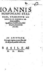 Ioan. Hospiniani Quaestionum dialecticarum libri 6: nunc primum in lucem editi ...