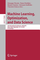 Machine Learning, Optimization, and Data Science