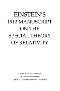Einstein s 1912 Manuscript on the Special Theory of Relativity